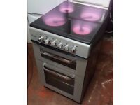 ROYALE RY50TCS 50CM WIDE TWIN CAVITY ELECTRIC COOKER WITH CERAMIC HOB -SILVER