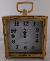 Vintage Style Table Mantel Clock  Antiquite de PARIS  Distressed Antique Look