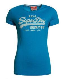 New Womens Superdry Vintage Logo Flock T-Shirt Blue L