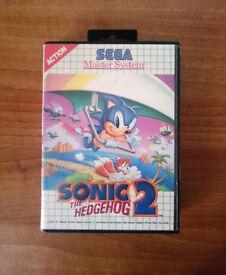 3x Sega Master System Games - Sonic the Hedgehog 2 - Disney's Alladin - Gauntlet - Retro - boxed