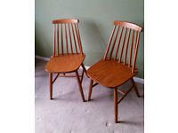 Pair of Mid Century Spindle Back Dining Room Chairs Ercol Style