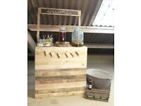 Rustic welcome drinks bar hire for weddings & events