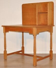 *ATTRACTIVE TALL VINTAGE SOLID OAK STUDENTS CHILDS OFFICE SMALL WRITING DESK*