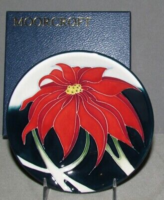 Moorcroft Christmas SCARLET Plate Coaster Poinsettia  Retired FIRST Quality NICE ()