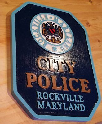 Police Rockville Maryland  routed 3d wood patch plaque sign Custom