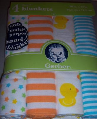 4 New Gerber Flannel Receiving Blankets, Duck, Baby Shower