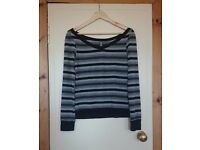 Grey Striped Jumper (size S/M)