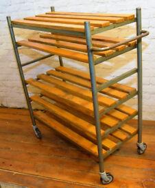 Industrial factory shelving unit trolley cabinet storage metal vintage antique mancave kitchen retro