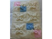 Brand new hand knitted Aran baby blanket