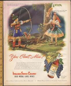 Large (10 ½ by 13 ½) 1948 full-page color ad Swiss Colony Wine