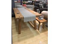 Stunning large 8 person, real wood kitchen table, 2 benches and 2 chairs from Next