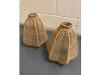 2 X STRING WOVEN PENDANT LAMPSHADES