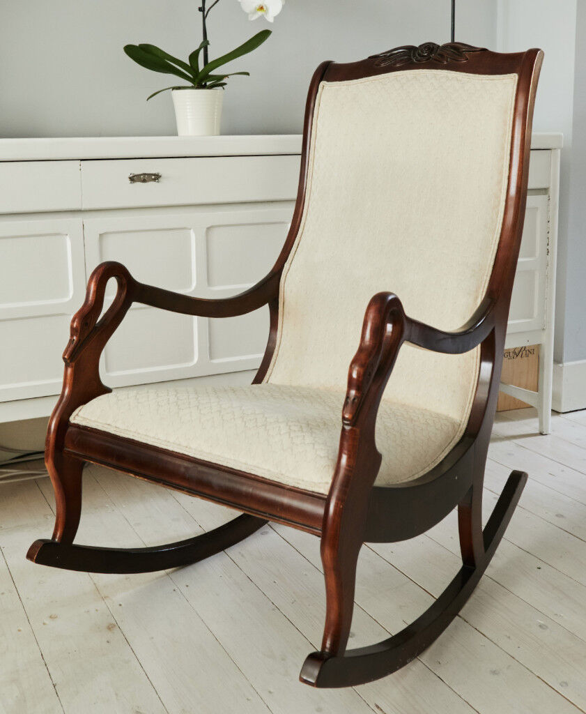 Statesville Antique Swan Goose Arm Rocking Chair Rocker Gany Cream Fabric