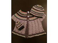 Handmade crochet dress, beanie and mittens set