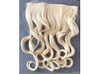19'' Bleach Blonde Curly One Piece 3/4 Full Head Clip In Hair Extensions Synthetic,