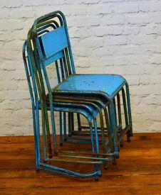 Industrial metal stacking chairs vintage garden kitchen school seating wedding restaurant cafe