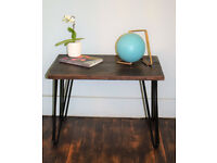 Reclaimed wood Industrial Hairpin Leg Side Table End Table Coffee Table