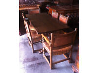 Oak Refectory table and six chairs