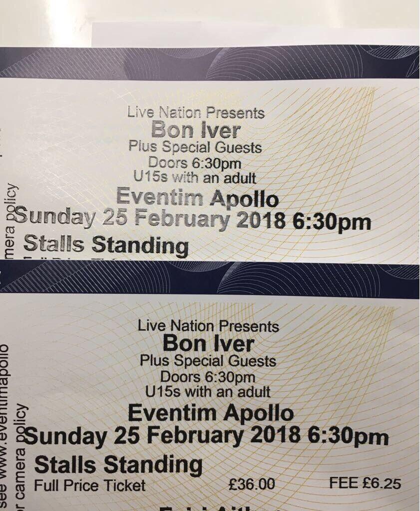 2 x Bon Ivor tickets London Apollo Sunday 25th feb £120 ono CAN PROVIDE ID