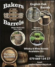 Oak barrel planters & barrels