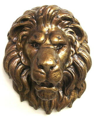Bronze Finish Lion Face Wall Hanging Plaque 3D Mask Sculpture