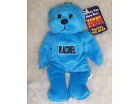 "NEW Personalised Rachel Teddy Bear Blue 7"" Tall Approx"
