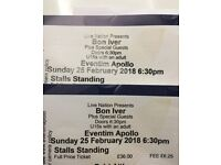 2 x standing tix for bon iver London TONIGHT face value & I can provide ID
