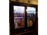Polar CB931 Double Sliding Door Back Bar Chiller Fridge