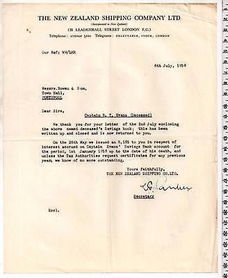 1959 - New Zealand Shipping Company - London EC3 - Letter