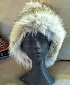 "NEW Warm Real Fur Winter Hat COYOTE NEW shipped Custom-made XL 24"" Upcycled Fur Trapper Mens Womens Oakville Earflaps ok"