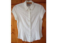 Women's Cherokee pretty white short -sleeve shirt. Size 10.