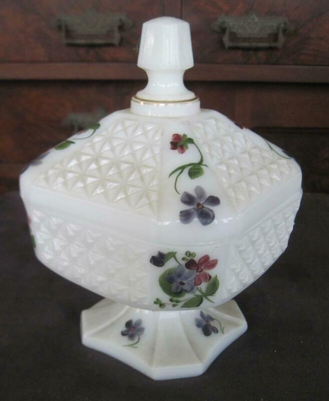 Consolidated Milk Glass Hand Painted Lidded Candy Jar Original Label