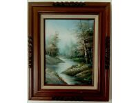 Original Oil on Canvas Painting in Wooden Frame