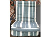 3 Garden Swing Cushions in Green and Cream Striped Fabric.