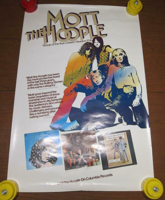 "Mott the Hoople 1974 Columbia Records Poster Rare 22.5"" x 34"""