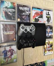 SONY PLAYSTATION PS3 SUPER SLIM 500GB & 8 GAMES CALL OF DUTY BLACK OPS 2 GHOSTS MW3 N4S BATTLEFIELD