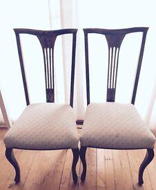 2 x Dark Wood Dining Chairs - Antique, Handmade, High back