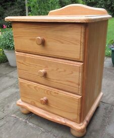 Solid Pine Bedside Cabinet with 3 Drawers