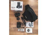 CANON 700D, three batteries, two lenses, strap and bag. Excellent conditions.
