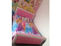 Pink double leather bed with gems