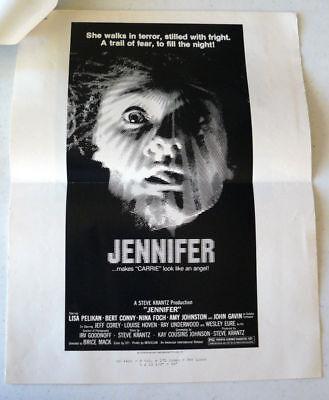Jennifer -1978 Horror Film Press Sheet . Jeff Corey, Lisa Pelikan, Nina Foch