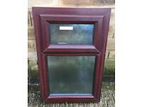 Rosewood Upvc outside top opening Frosted glass window , white inside.