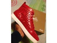 Red leather Christian Louboutin HiTops sneakers Loubs