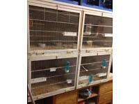 Block of 4 steel wall mounted bird breeding cages