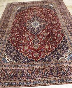 Kashan Persian Rug, Handmade Carpet, Wool, Navy Blue, Red, Green, Yellow, Pink, Beige and Orange Size: 13.5 X 9.6 ft