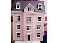 3 storey pink georgian dolls house with accessories and figures. excellent condition £160