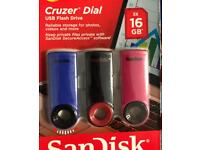 3 x 16gb sandisk usb sticks