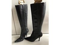 9 West Black Leather boots size 6/39