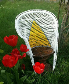 Upcycled 1960 wicker peacock style mini chair