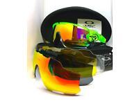 Oakley Jawbreaker Cycling Sunglasses Fire Prizm Polarized Green/Black Frame 5 lens set